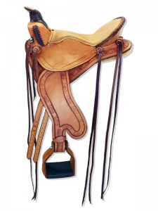 Russet Lightweight Trail Saddle with cutback skirts and bulkless English rigging, round pommel with a horn, extra padded seat with Mexican braided cantle, streamlined fenders and border tooling.