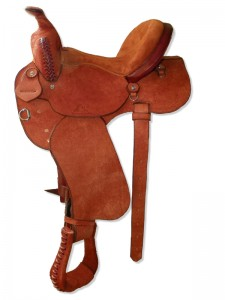 Chestnut all rough out Western Barrel Saddle with butterfly skirts, Western rigging with a flank cinch, wide pommel with a horn, extra padded seat with Cheyenne roll and wide fenders.