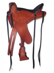 Chestnut Endurance Saddle with cutback skirts and bulkless English rigging, Frank Bell pommel, extra padded seat with Mexican braided cantle, streamlined fenders and border tooling.