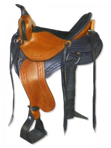 Hand Dyed Black-Saddle Tan Saddle with full skirts and 3 point rigging, wide pommel with a horn, extra padded seat with Mexican braided cantle and hoof pick holder, streamlined fenders and border tooling.