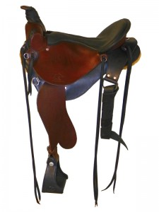 Hand Dyed Black-Mahogany Saddle with cutback skirts and 3 point rigging, Frank Bell pommel and a horn with a roper's wrap, extra padded seat with a cantle binding and streamlined fenders.