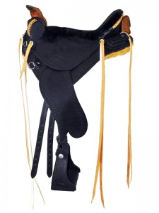 Black Lightweight Trail Saddle with cutback skirts and bulkless English rigging, Frank Bell pommel and a horn with a roper's wrap, sheepskin seat with a Mexican braided cantle and a cavalry pouch, streamlined fenders and border tooling.