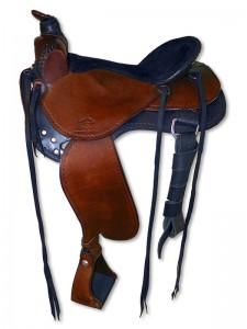 Black-brown drum dyed western saddle with Frank Bell pommel with horn, 3 point rigging, extra padded seat wide fenders and border tooling.