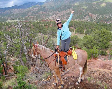 Amanda D showing off in her endurance saddles