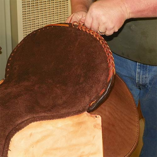 Craftsmanship of western saddle cantle.